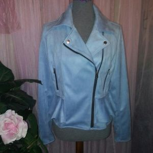 Baby Blue Faux Suede Moto Jacket